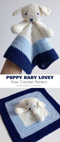 Puppy Baby Lovey Free Crochet Pattern Here is an easy and quick project, perfect for amigurumi beginners. The pattern is fully safe for little ones, so it will be perfect as Crochet Lovey Free Pattern, Crochet Blanket Patterns, Baby Blanket Crochet, Knitting Patterns, Crochet For Baby, Crochet Baby Stuff, Crochet Baby Clothes, Crochet Amigurumi, Crochet Toys