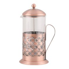 This elegant French press in copper rose brings that much needed air of calm to a daily coffee ritual. Copper Rose, Rose Gold, Coffee Shop, Coffee Cups, Buy Tea, Tea Accessories, At Home Store, French Press, Tea Pots