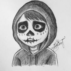 Miguel from coco Disney Character Drawings, Disney Drawings Sketches, Easy Disney Drawings, Art Drawings Sketches Simple, Cartoon Drawings, Animal Drawings, Cartoon Art, Cute Drawings, Pencil Drawings Tumblr