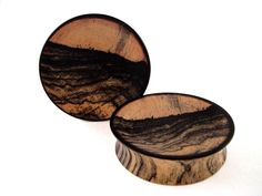 Wood Plugs, Black/White/Ebony plugs @PrimalOrganics $55 #plugs #jewelry