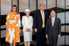 First Lady Melania Trump made an appearance in a Delpozo midi dress on Sunday, August 20 — see more of her most stylish looks here Elizabeth Ii, Palais Des Tuileries, First Ladies, Carolina Herrera Dresses, Yellow Pumps, Country Wear, Tokyo Hotels, First Lady Melania Trump, Latest Outfits