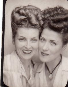 Photo booth - 1940s updos found photo print ad snapshot women blouse necklace hairstyle rolls curls makeup portrait vintage war era fashion style