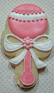 baby rattle cookie~                      by artfullysweet, via Flickr, pink, white bow