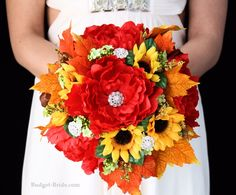 Fall Sunflower Western Wedding Flowers with red peonies, sunflowers and fall leaves