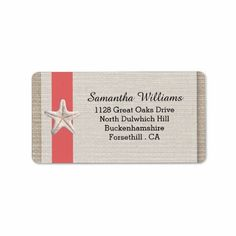 Starfish Beach Wedding Labels - Coral