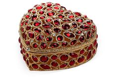 """24kt. Gold Crystal Trinket Box - Hand-set, ruby-red crystals add splendor to this enameled, heart-shaped trinket box. Finished with 24-karat-gold detail, this one is sure to be a treasured heirloom. 4.5"""" x 4.5"""" x 2.25"""" ($59.00/$110.00 retail)"""