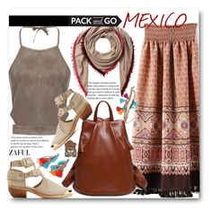 """""""Pack and Go: Mexico City"""" by beebeely-look ❤ liked on Polyvore featuring Faliero Sarti, NOVICA, Balmain, Aztec, maxiskirt, springsummer, Packandgo and zaful"""