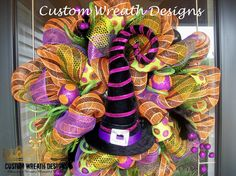 Halloween Witch Hat Deco Mesh Wreath.