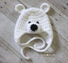 Kostenlose Anleitung Bärenmütze Häkeln Crochet Polar Bear Hat Free Tutorial