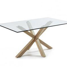 Mesa con soporte de acero chapado natural y sobre de cristal transparente temlplado.