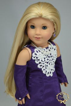 """Handcrafted 18 inch doll clothes fits AG Dolls OOAK """"Luxury Formal Full length dress (Dress, Formal gloves, Necklace & Separated underskirt)"""