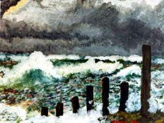 Sea scape (1971), one of the very few paintings made with acrylic paint.