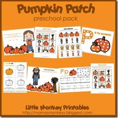 FREE Preschool Printables: Pumpkin Patch Preschool Pack (Today Only) Fall Preschool Activities, Thanksgiving Preschool, Free Preschool, Preschool Printables, Preschool Kindergarten, Classroom Activities, Classroom Ideas, Preschool Projects, Kindergarten Worksheets
