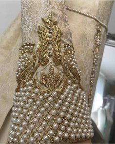 Ideas Embroidery Blouse Designs Pearl For 2019 Zardosi Embroidery, Pearl Embroidery, Embroidery Works, Couture Embroidery, Embroidery Suits, Embroidery Fashion, Hand Embroidery Designs, Wedding Embroidery, Embroidery Blouses
