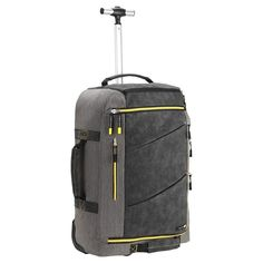 Hand Luggage Backpack Flight Approved Handle Straps Wheels Pockets Yellow/Grey #HandLuggageBackpack