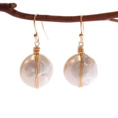 Freshwater Pearl Wrapped Coin Earrings