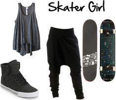 """Skater Girl"" by nikkitha-horan on Polyvore....harem pants racerback shirts aren't only for skaters..."