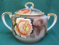 Vintage Noritake Hand Painted Porcelain Sugar Bowl Gray Peach Roses Gold Gilt #Noritake