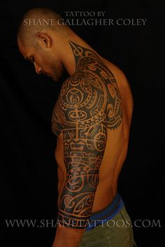polynesian tattoo, like the extension onto the neck