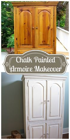 Chalk Painted Armoire Makeover - using homemade chalk paint color matched to Annie Sloan in Old White. Lightly distressed and glass knobs added. DIY- 2 Bees in a Pod