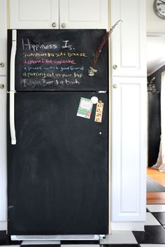 Step by step how to paint the refrigerator with chalkboard paint