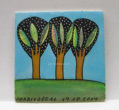 FUNKELBÄUMCHEN Nr. 2 Herbivore11 Inchie Baum Bäume Minibild kleine Kunst sammeln