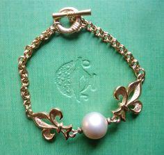 Fleur de lis Pearl Bracelet $20.00