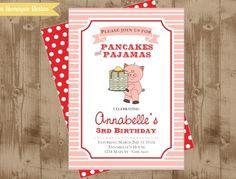 Pancakes and pajamas birthday. Very unique and cute idea!