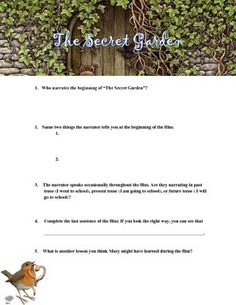 """The Secret Garden"" Movie Guide  Occasionally as part of a unit on personal narrative, I treat students to a viewing of ""The Secret Garden."" I find that asking students to take notes during a film is incredibly helpful at keeping them focused and reminding them that they are responsible for information in the movie. Because these notes are largely focused on elements of a personal narrative essay, they would be a great addition to any unit focused on narrative."