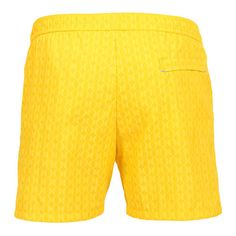 LIDO 1 MID-LENGHT BOARDSHORTS COLOR YELLOW Made in Italy yellow Jacquard nylon LIDO 1 mid-length boardshorts. Two front pockets and a small press stud pocket featuring an hexagonal metal decoration. Back pocket. Internal net. Elastic waistband with adjustable drawstring. COMPOSITION: 100% POLYAMIDE. Model wears size L he is 189 cm tall and weighs 86 Kg.