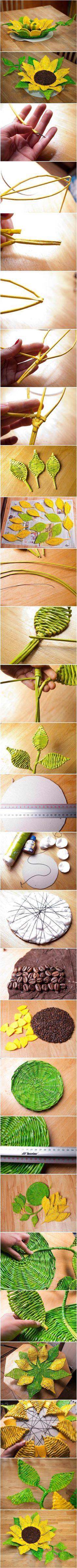 DIY Paper Woven Sunflower Tray | iCreativeIdeas.com Follow Us on Facebook --> https://www.facebook.com/icreativeideas