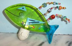 fused glass night light with beaded fins!