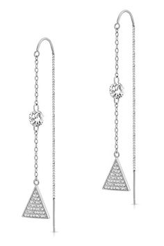 Art and Molly Sterling Silver Triangle Threader Drop Earrings with Cubic Zirconia
