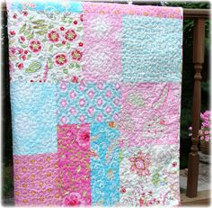 Pretty Little Things Modern Big Block Baby Girl Quilt. $135.00, via Etsy.