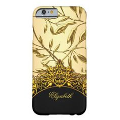 Damask Pattern Elegant Classy Black Gold Barely There iPhone 6 Case