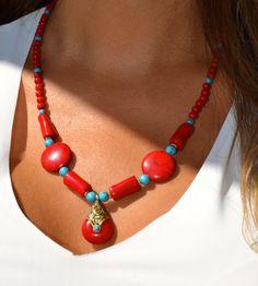 Boho Style Chunky Beaded Necklace