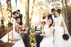 Blog — She Said Yes Bridal Art Director Ladonna Lanier Photography by Stephanie Parsley #styled #bridalfashion #lazaro #maggiesottero #flowers #maroon #gold #outdoor #group
