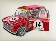 . Mini Morris, Red Mini Cooper, Mustang Bullitt, Cooper Car, Mini Copper, Truck Art, Mini S, Car Tuning, Rally Car