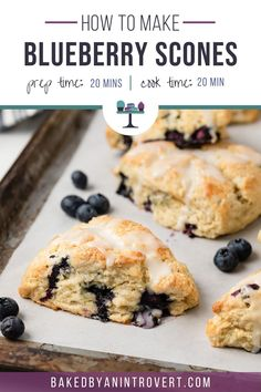 Fluffy blueberry scones studded with fresh blueberries and topped with a sweet glaze. Buttermilk makes the scones ultra-tender. Tasty Bread Recipe, Quick Bread Recipes, Baking Recipes, Scone Recipes, Blueberry Scones Recipe, Blueberry Recipes, Cheese Scones, Bread Appetizers, Breakfast