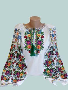 Ukrainian blouse vyshyvanka/ Ukrainian embroidery/ Peasant blouse/ embroidered shirt/ boho blouse/ Ukrainian clothing/ women's clothing Ethno Style, Mexican Dresses, Peasant Blouse, Embroidered Blouse, Blouses For Women, Crochet, Womens Fashion, Cross Stitch, Traditional Mexican Shirts