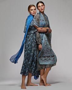 "Silk scarf ""Volga"" Шелковый шарф «Волга» Silk Scarves, Russia, Kimono Top, Tops, Women, Fashion, Moda, Fashion Styles, Fashion Illustrations"