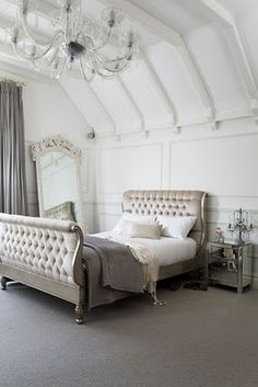 I'm not a huge fan of sleigh beds but this one is stunning...totally going in my imaginary master bedroom