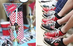 Cool shoe group photo and trophy favors