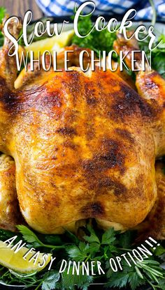 This slow cooker whole chicken is a rotisserie style seasoned chicken made with the help of the crock pot. Slow Cooker Recipes, Crockpot Recipes, Super Easy Dinner, Stuffed Whole Chicken, Chicken Seasoning, The Help, Crock Pot, Easy Meals, Turkey