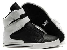 Supra TK Society Black White Leather Mens High Tops