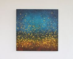 This large abstract painting is titled Chasing Fireflies No. 3. It is an original acrylic painting on a thick square canvas. It features a rich and dreamy color palette of deep midnight blue, turquoise, warm golden yellow, burnt sienna, brown and black. This painting has wonderful palette knife texture and golden yellow (slightly metallic) drips. Title: Chasing Fireflies No. 3 Medium: gesso, acrylic paint, varnish Support: stretched canvas Measurements: 30 x 30 x 1.5 Creation Date: Februa...