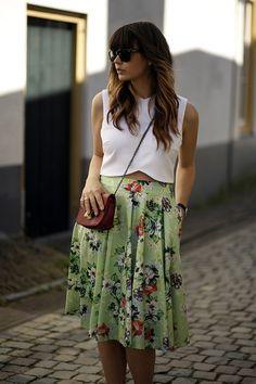 blog modaeuropa saia midi estampa floral verde top crop tendencia 2014 verão estilo look do dia elegante