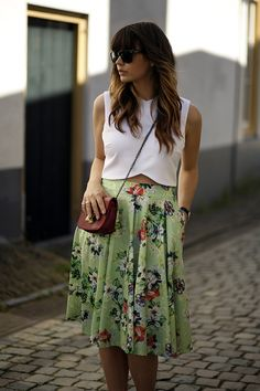 blog modaeuropa saia midi estampa floral verde top crop tendencia 2014 verão estilo look do dia elegante