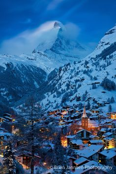 Zermatt Switzerland with the Matterhorn looming large overhead. © Brian Jannsen Photography