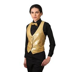 Women s Gold Sparkling Vest Disco Party b8fab62e79